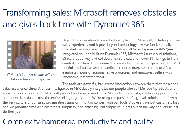 Transforming sales Microsoft removes obstacles and gives back time with Dynamics 365 - Whitepaper 1