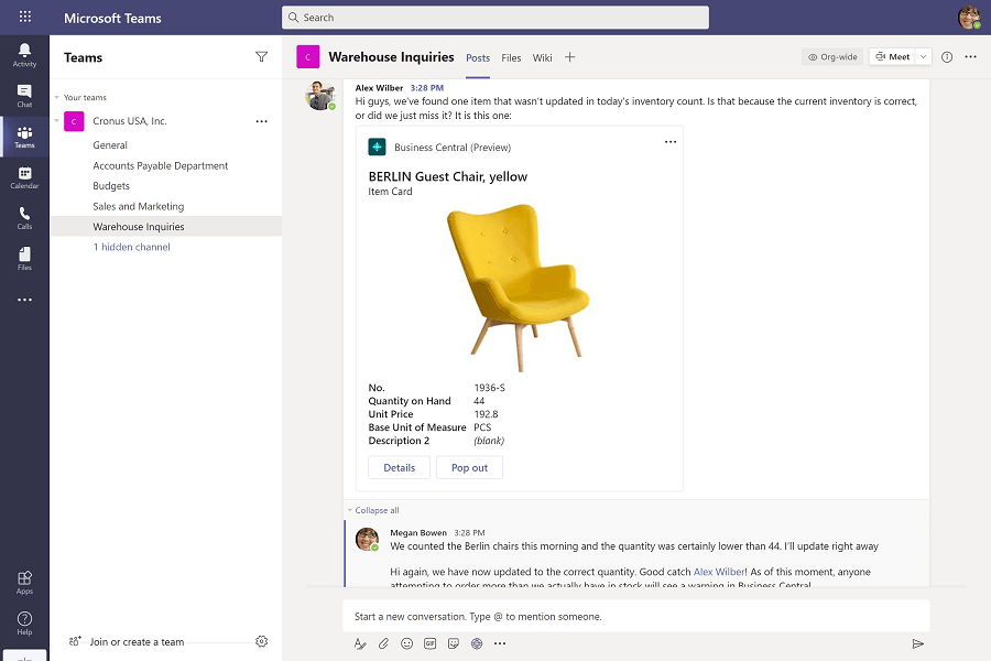 integration between microsoft dynamics 365 and microsoft teams you can share business central records into chat in microsoft teams in malaysia and singapore